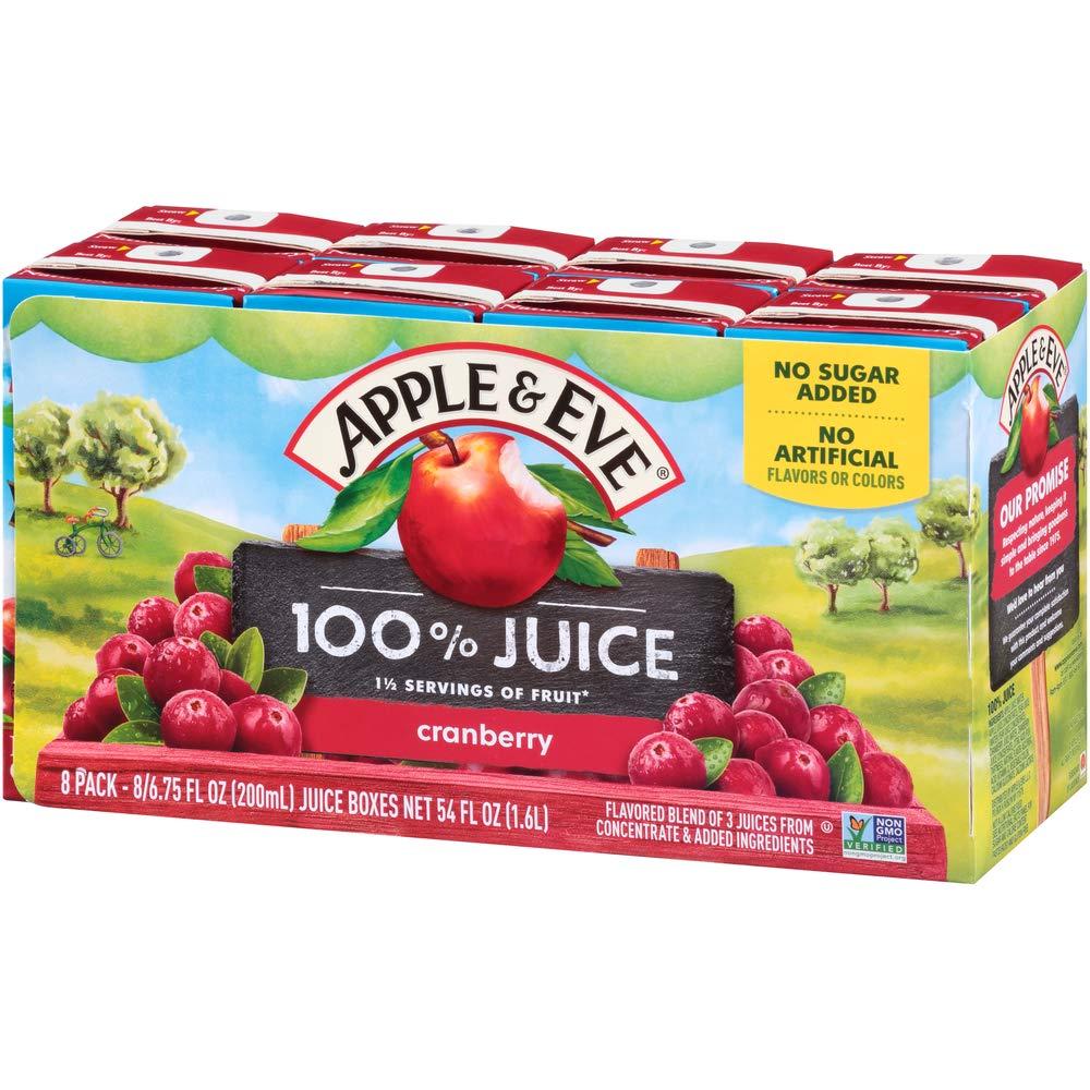 Apple & Eve 100% Juice, Natural Cranberry, 6.75 Fluid-oz, 40 Count