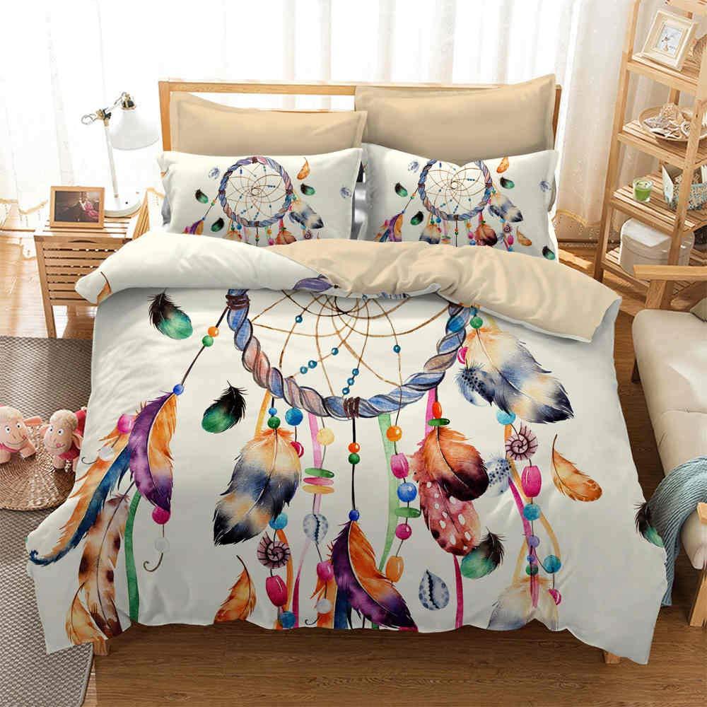 starfarm Boho Dream Catcher Bedding 2pc Twin Size Colorful Tribal Feather Bohemian Duvet Cover