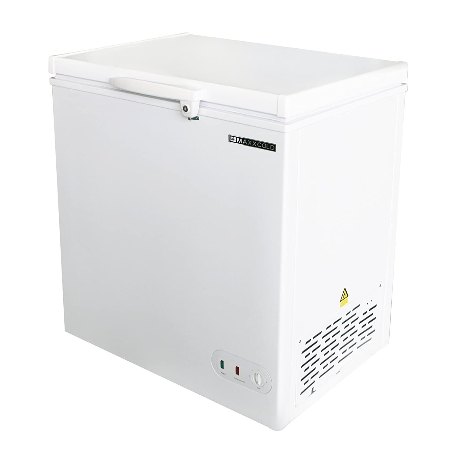 Maxx Cold 5.2 Cubic Feet 147 Liter Solid Hinged Top Sub Zero Commercial Chest Freezer with Locking Lid NSF Garage Ready Manual Defrost Keeps Frozen for 2 Days In Case of Power Outage, 30.4 In W, White