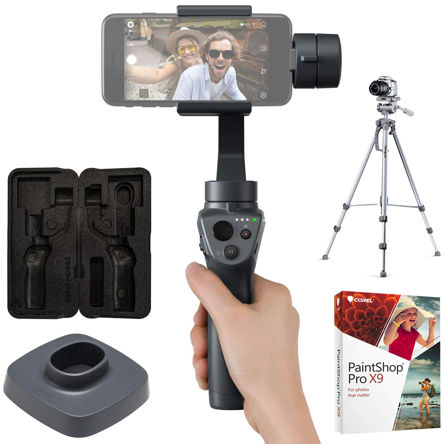 DJI Osmo Mobile 2 Handheld Smartphone Gimbal Stabilizer Creator Bundle with Full Size Tripod, Osmo Base, Carrying Case and Corel PaintShop Pro X9 Digital Download E2DJIOSMOMOB2