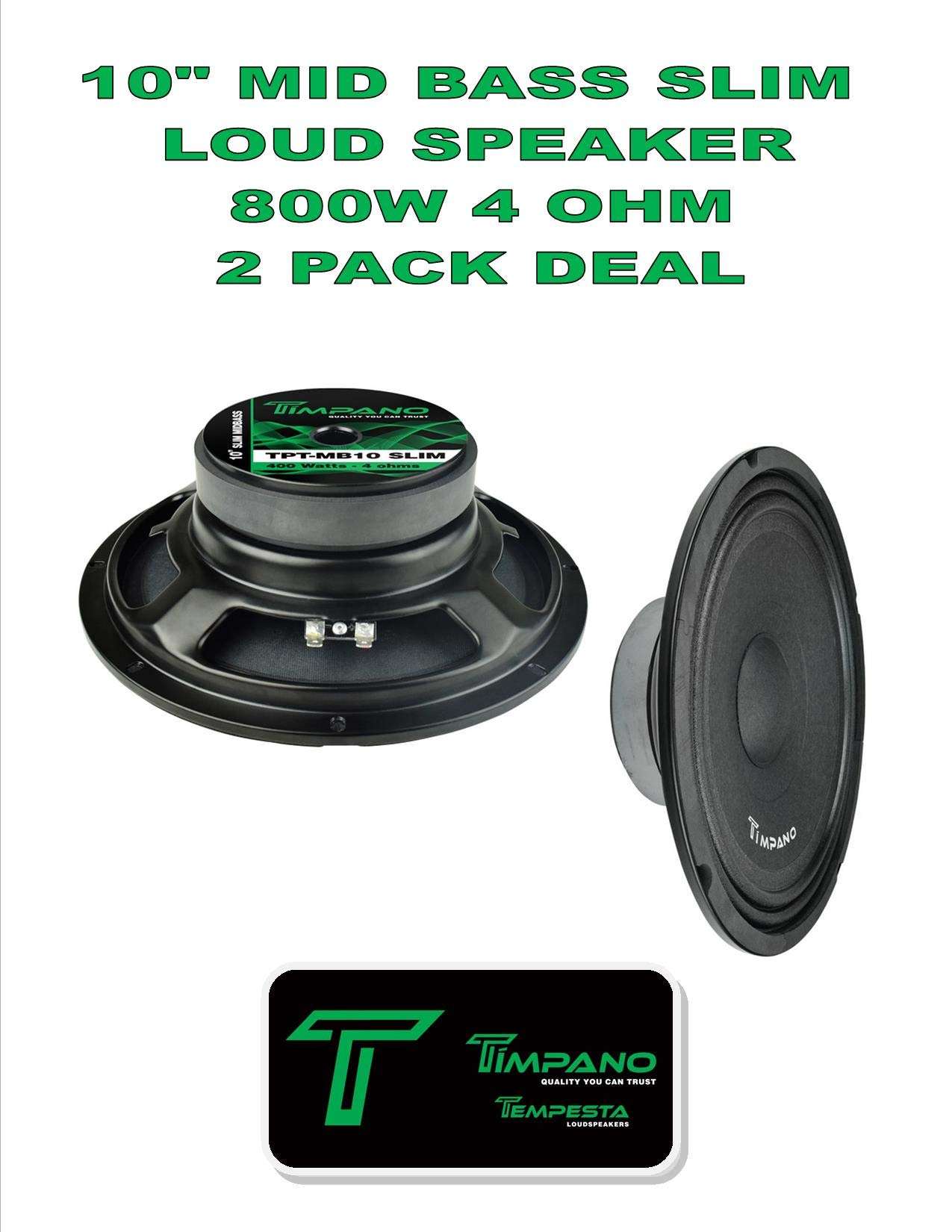(2) Timpano TPT-MB10 Slim 10'' 4 Ohm 800W Mid Bass Loudspeaker 1 Pair