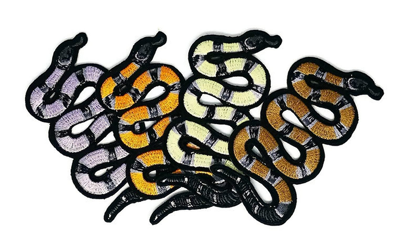 Juego de 4 coloridos parches bordados de animales de serpiente para coser o planchar, para coser o planchar bordados, para manualidades, hecho a mano, ...