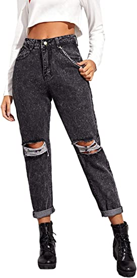 Shein Women S Casual Modern Boyfriend Mid Waist Button Front Ripped Tapered Jeans At Amazon Women S Jeans Store