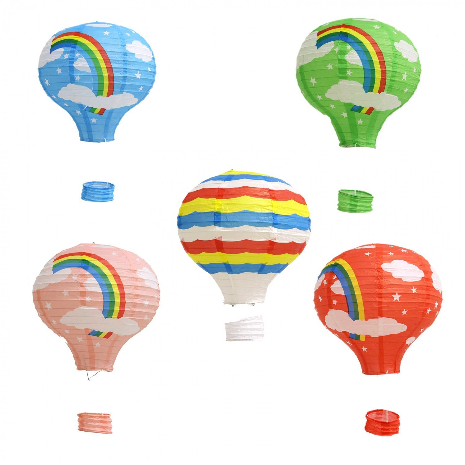 Buorsa Pack of 5 Paper Lantern 12 Inch Hanging Hot Air Balloon for Christmas Wedding Party Decorations