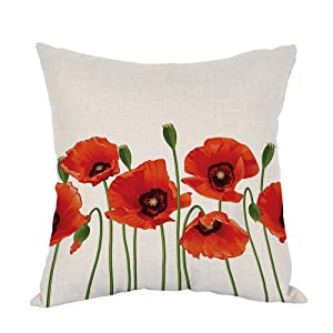 Moslion Flower Pillow,Home Decor Throw Pillow Cover poppies Of Spring Season Pastoral Flowers Botany Bouquet Field Nature Theme Art Cotton Linen Cushion for Couch/Sofa/Bedroom18 x 18 inch Pillow case
