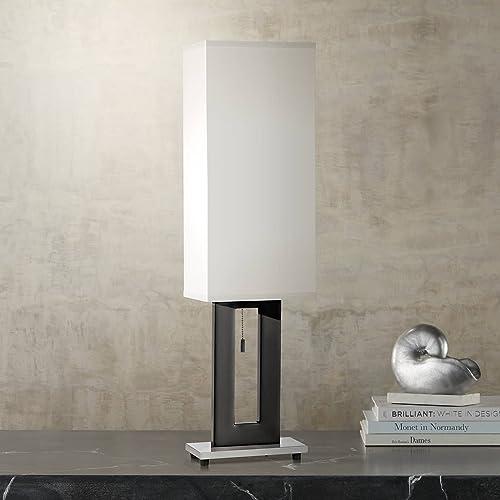 Floating Rectangle Modern Table Lamp Black Base Off White Shade for Living Room Family Bedroom Bedside Nightstand Office – 360 Lighting