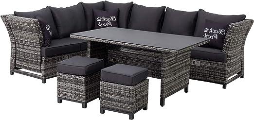 Mandalika Garden - Conjunto de muebles de jardín 3 en 1 (ratán sintético, para izquierda, con reposabrazos ajustables, flexible), color negro: Amazon.es: Jardín