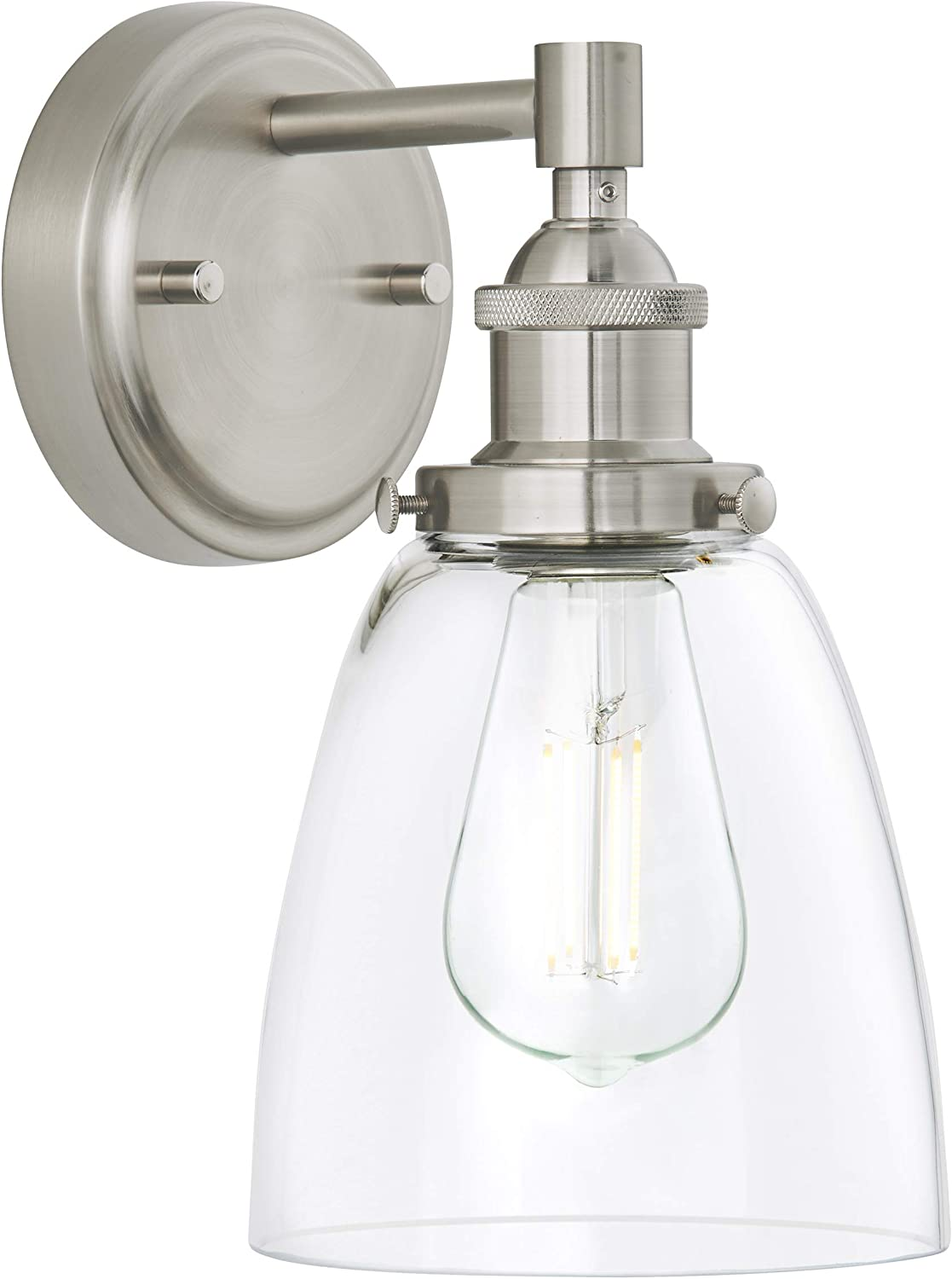 Fiorentino Led Industrial Wall Sconce Brushed Nickel W Clear Glass Linea Di Liara Ll Wl582 Bn