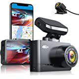 AUTOWOEL 4K Dash Cam Front and Rear with WiFi & GPS, Dual Dash Cam Motion Detection, Car Camera Recorder with UHD 3840x2160P,