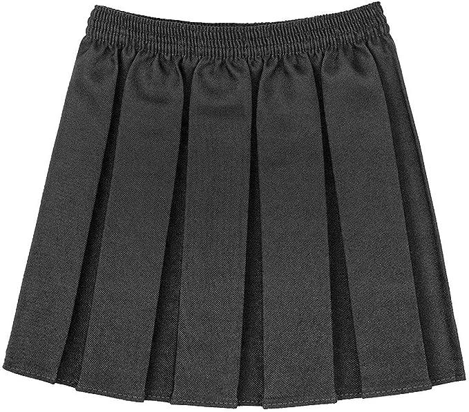 MA ONLINE Girls Plain Box Pleated School Uniform Mini Skirt