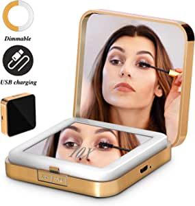Led Compact Mirror Lighted Travel Makeup Mirror Rechargeable Led Purse Mirror Portable with Lights 1X 10X Magnification (Square)