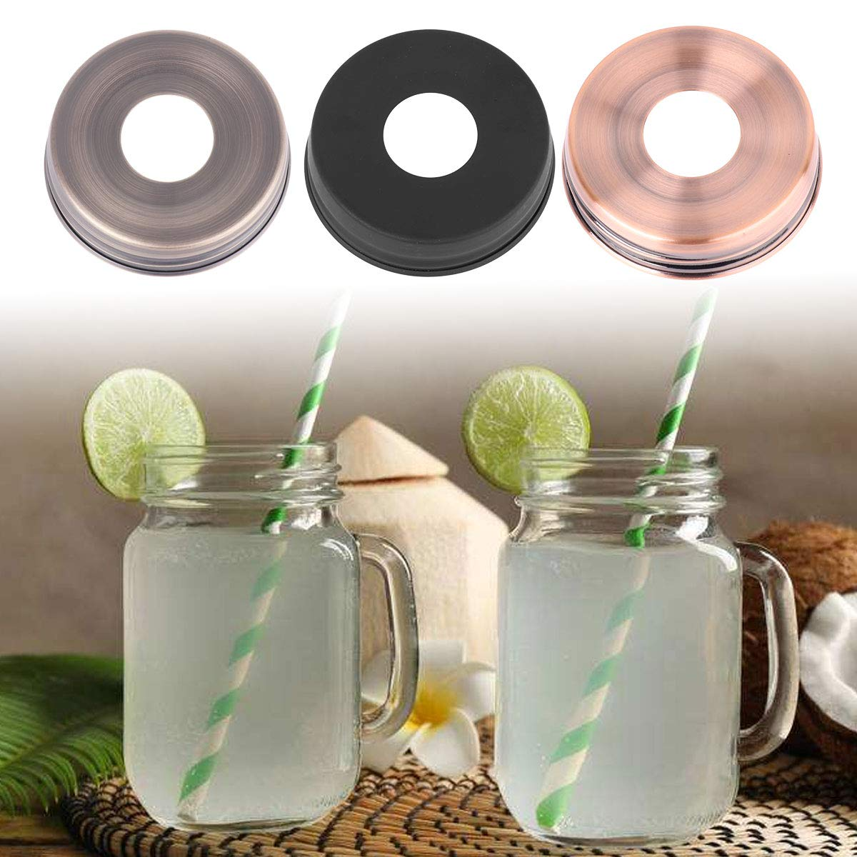 CHICTRY 2Pcs Pre-Drilled Mason Jar Lids Stainless Steel Soap Dispenser Lids Adapters for Regular Mouth Ball Canning Jars or other DIY Crafts Black&Grey One Size