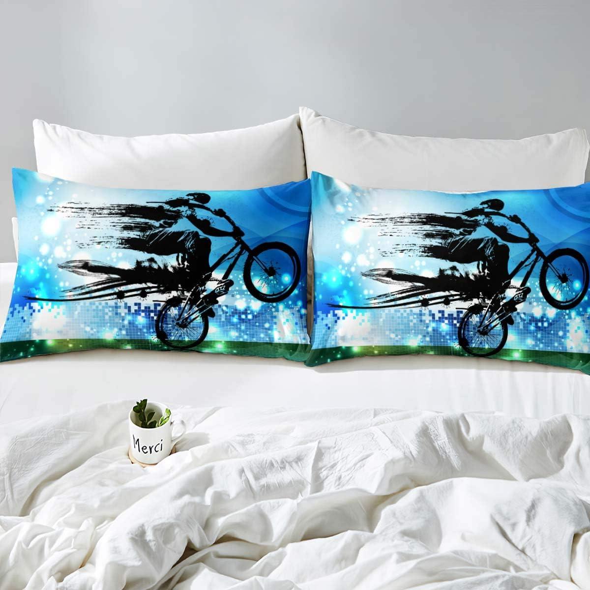 1Duvet Cover +2 Pillowcases Boys Bedding Set,Dirt Bike Sports BMX ...