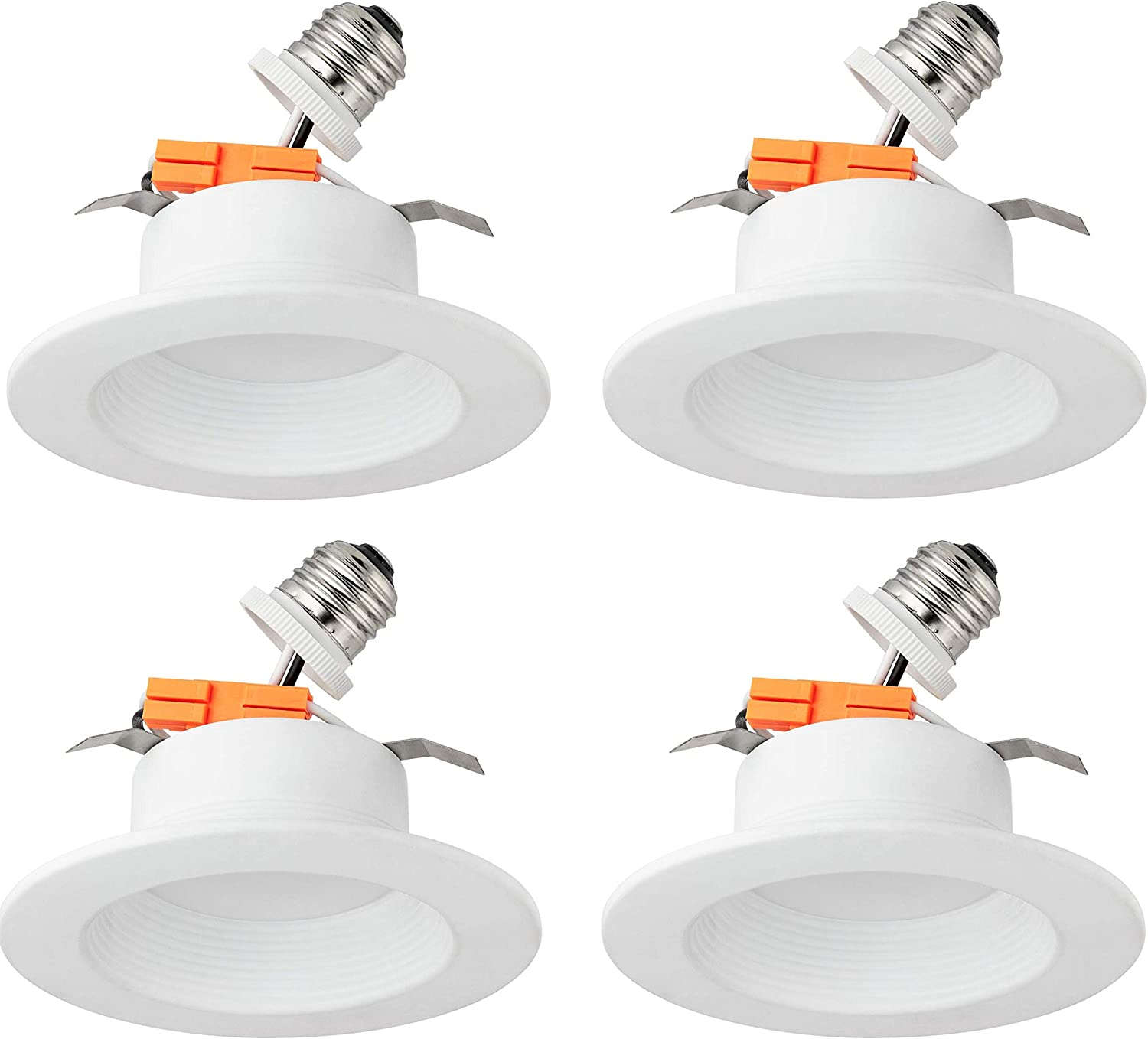 """Dimmable LB13135 4/"""" LED Downlight Square 4-Pack 700 Lumens 75W Energy Star /& UL 3500K Soft White Glow 10W LED Recessed Ceiling Light Waterproof Retrofit LED Recessed Lighting Fixture"""
