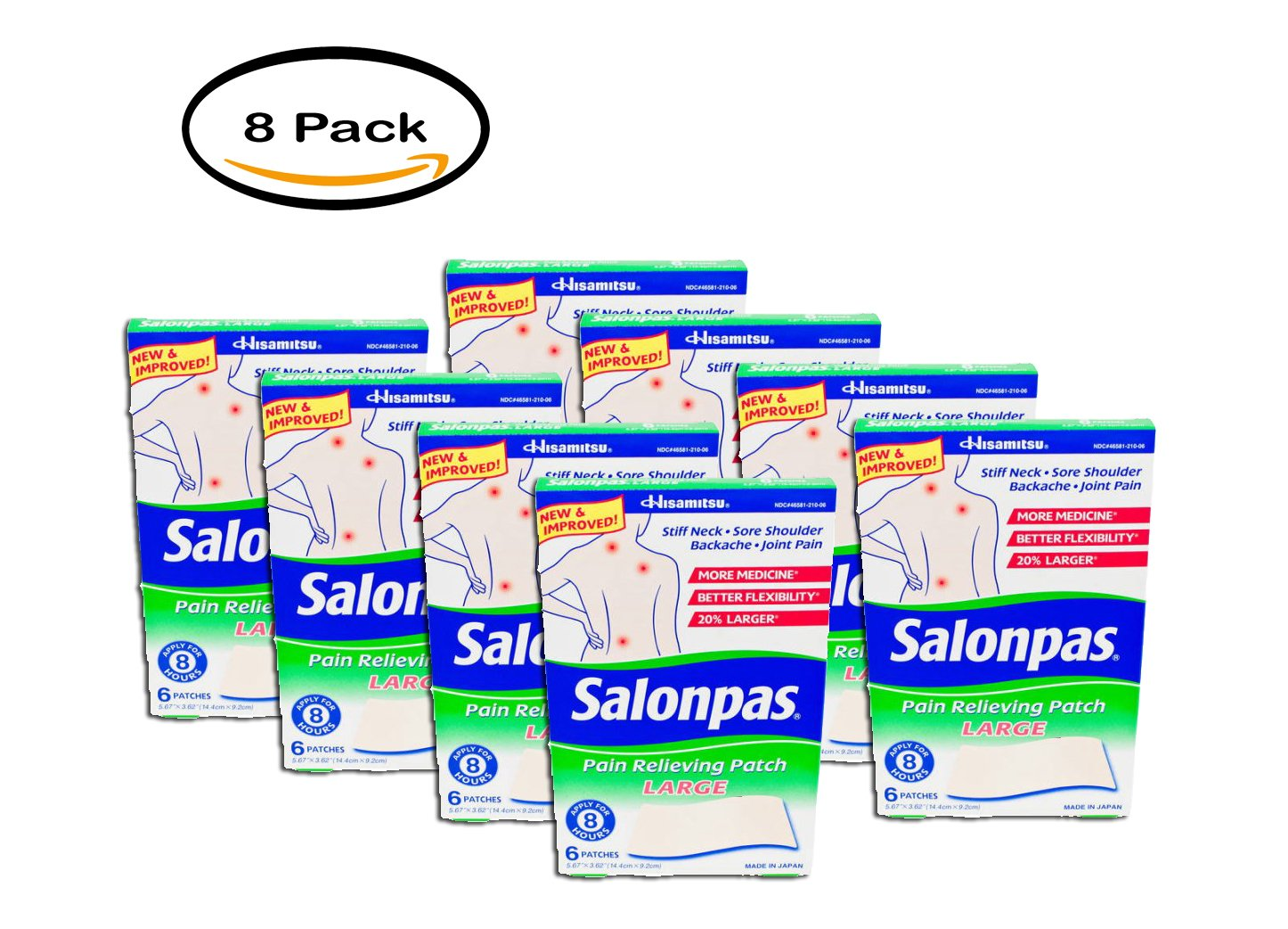 PACK OF 8 - Salonpas Large Pain Relieving Patches, 8 ct