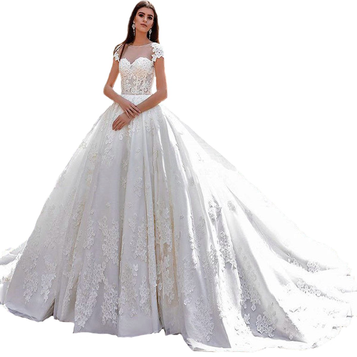 Yuxin Luxury Vintage Ball Gown Wedding Dresses For Bride Lace Cap