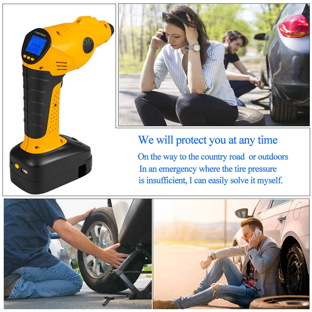 CARYWON Portable Air Compressor Pump Cordless Tire Inflator with Digital Display and LED Lights ,Built-in Power Bank Perfect for Car Bicycle Air Mattresses Airboat Airbed Basketballs by CARYWON (Image #7)