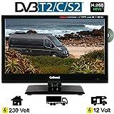 Gelhard GTV-1662 LED DVD 15,6 Zoll Fernseher Full-HD, DVB-S / S2 -T / T2 12 / 230 Volt