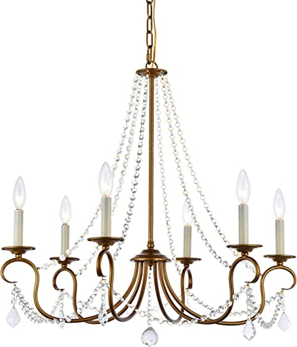 A1A9 Modern 6 Light Candle Style Chandelier with Crystal Accents, Simple Classic Traditional Pendant Light, Kitchen Island Ceiling Light Fixtuer for Entryway, Hallway, Dining Room and Foyer Gold