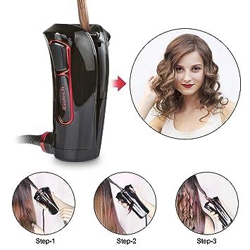 iGutech Rizador de pelo automático con cerámica Turmalina, calentador y monitor LED (Negro): Amazon.es: Belleza