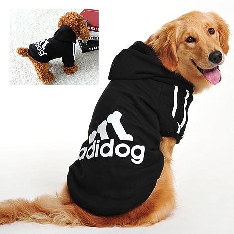WaWa Sudadera con capucha para perro, muy suave, diseño de Adidog, color negro