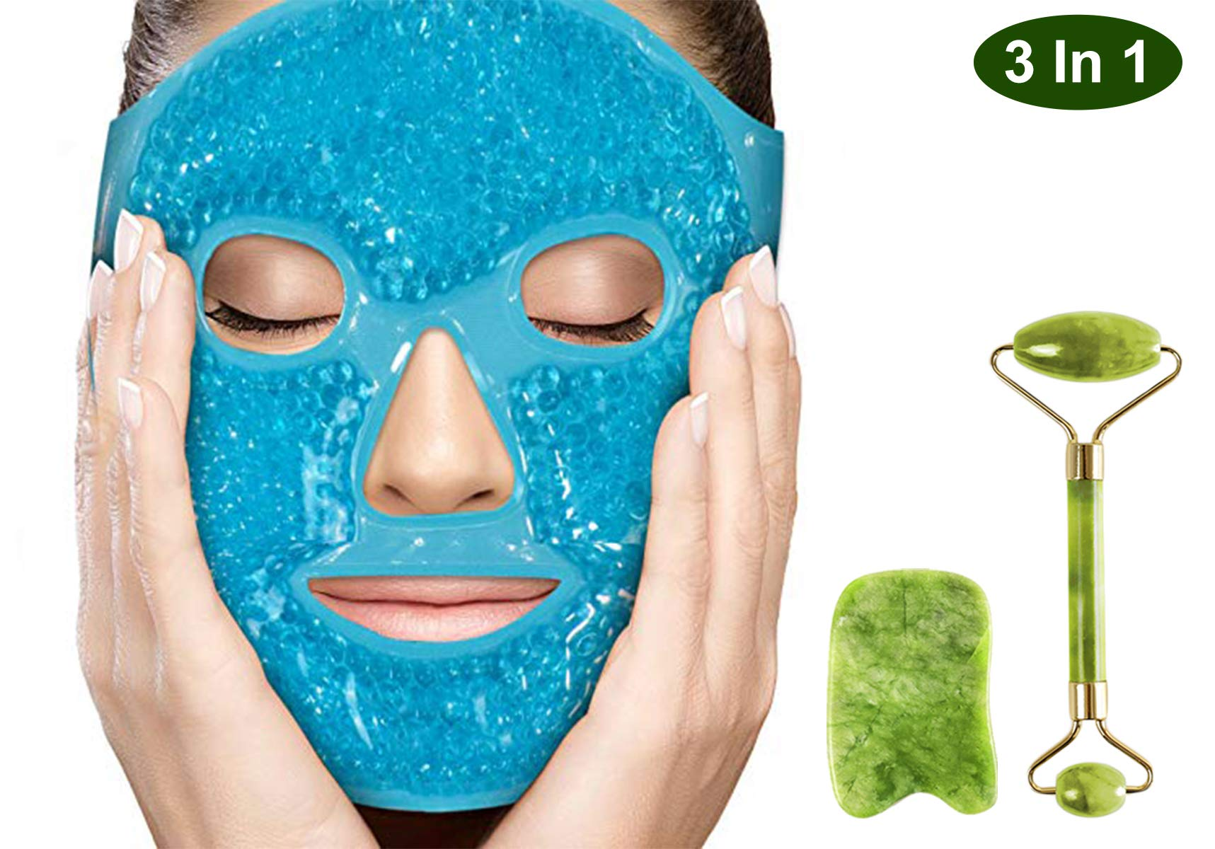 Puffy Eyes Gel Pack Mask with Jade Roller and Gua Sha Tool,100% Real Ficial Ice Jade Roller Anti Wrinkle Mask Therapy Pack Reusable Large for Face & Eye Puffiness Migraine Relief Massager Treatment