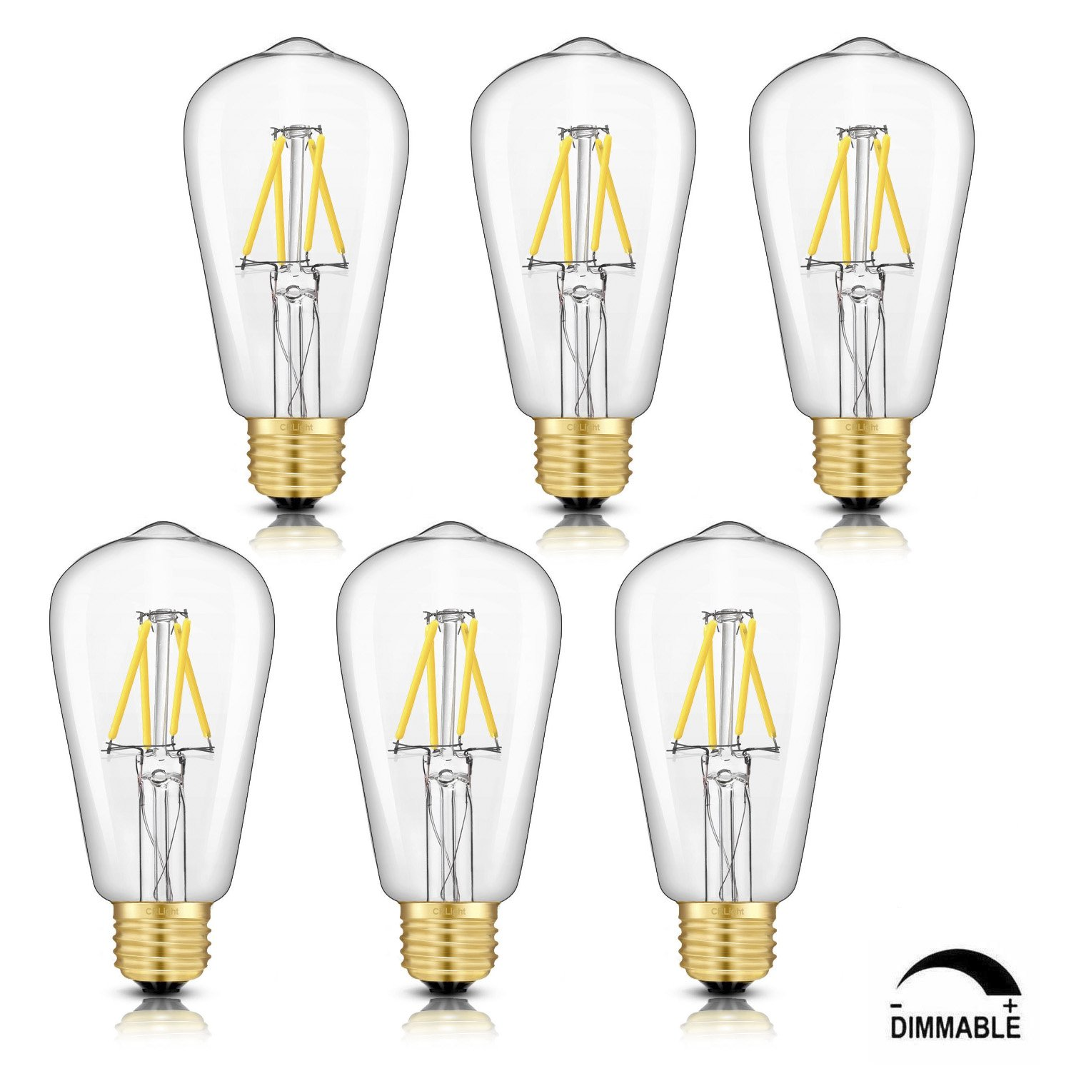 Crlight Led Edison Bulb 4w Dimmable 4000k Daylight Neutral White Or Lamp Pulser Circuit 500lm 50w Equivalent E26 Medium Base St58 Vintage Filament Bulbs 360 Degrees Beam