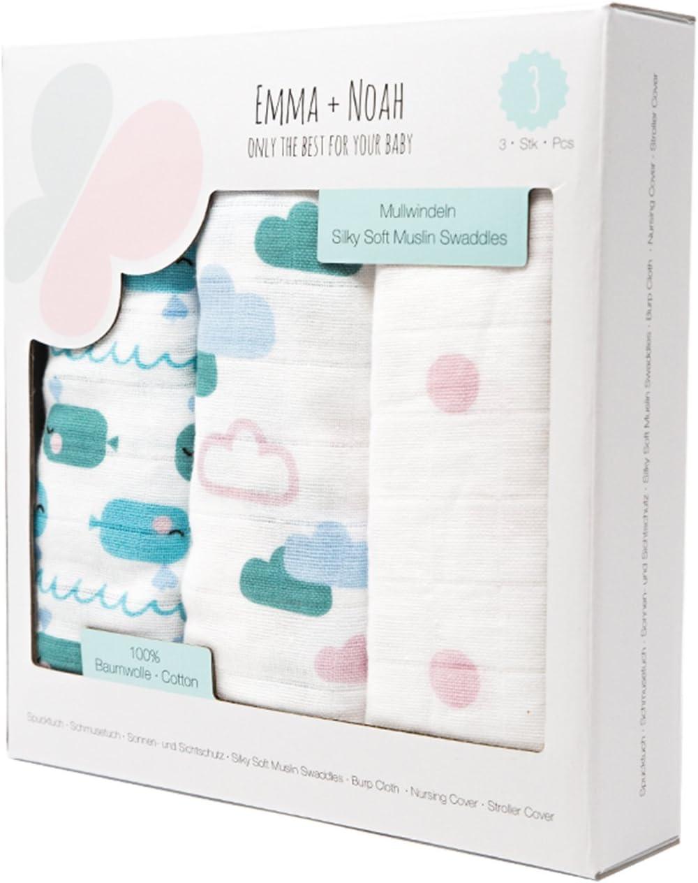 paquete de 3 doudou Muselinas para beb/és de emma /& noah 100/% algod/ón pa/ños de mulet/ón mantas de lactancia 80x80 cm pa/ños de muselina suaves para beb/é,ideal como pa/ñales de tela