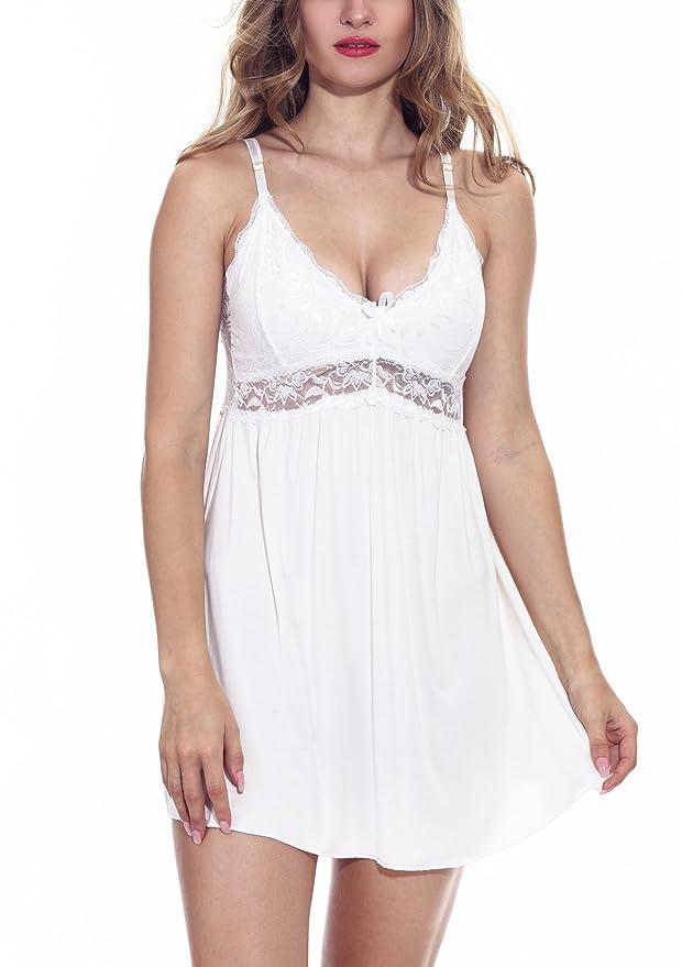 Kanilu Women's Soft Sleepwear Sheer Nightgown Sexy Lace Trim Mini Chemises Nightdress by Kanilu