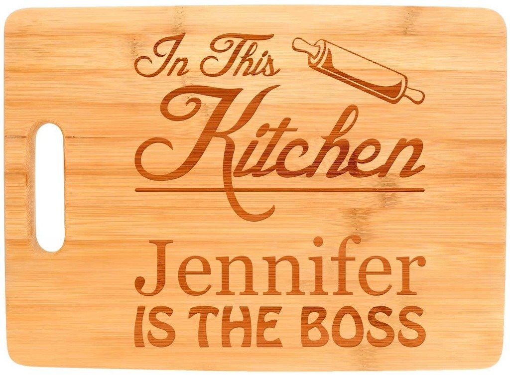 Custom Cooking Gift Enter Name Kitchen Boss Personalized Big Rectangle Bamboo Cutting Board Bamboo by Personalized Gifts (Image #2)