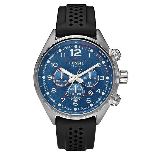 Fossil CH2694 - Reloj cronógrafo de cuarzo para hombre con correa de silicona, color negro: Amazon.es: Relojes