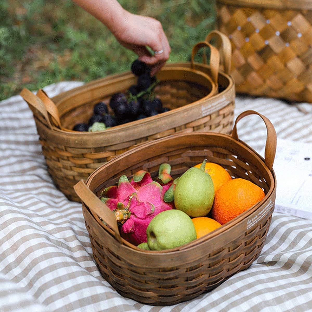 Tongboshi Bread Basket, Hand-Woven Storage Basket (with Handle), Picnic Fruit Bread Basket, Storage Basket, Oval Fruit Basket Three-Piece, Latest Models (Color : 3-Piece Set) by Tongboshi (Image #6)