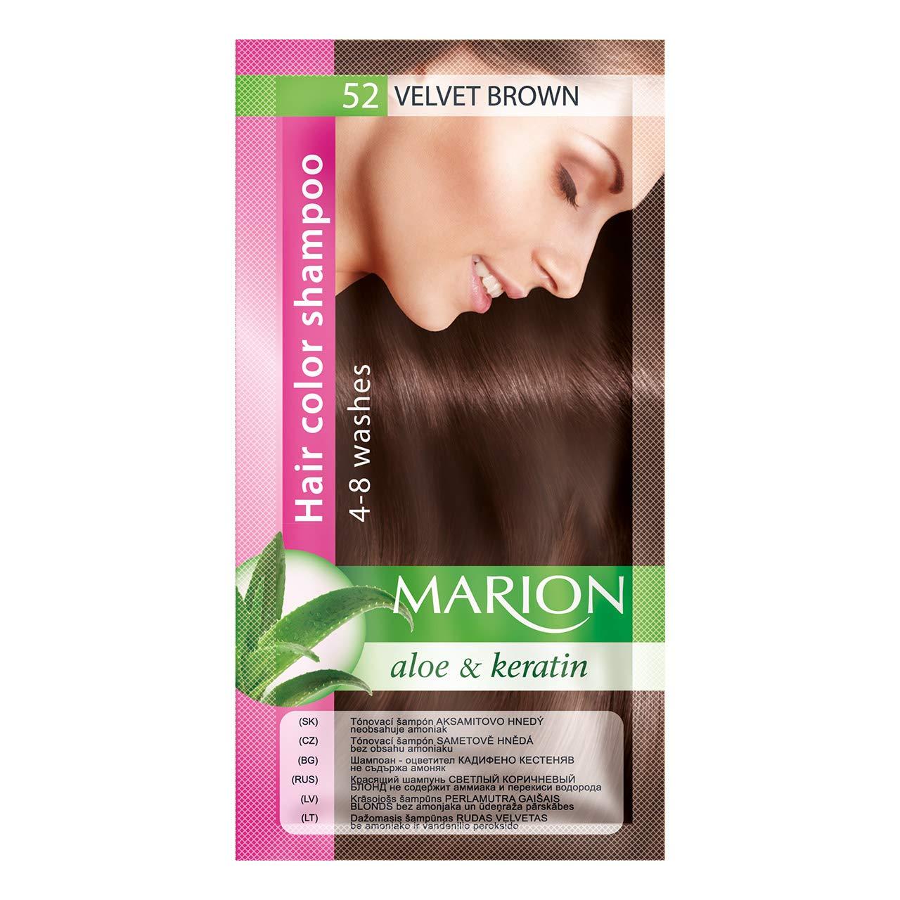 Marion Hair Color Shampoo in Sachet Lasting 4-8 Washes - 52 - Velvet Brown