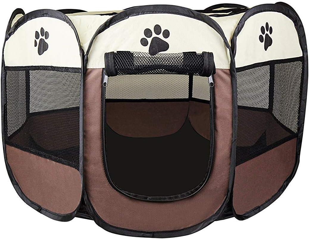 Cosy Life® Parque para Perros - Recinto de Juego Entrenamiento Dormitorio para Mascotas - S 65 x 65 x 44 cm - Marrón