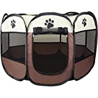 Cosy Life® Playpen Tent for Pets Dogs Puppies, 65x65x44 cm (Small) - Brown