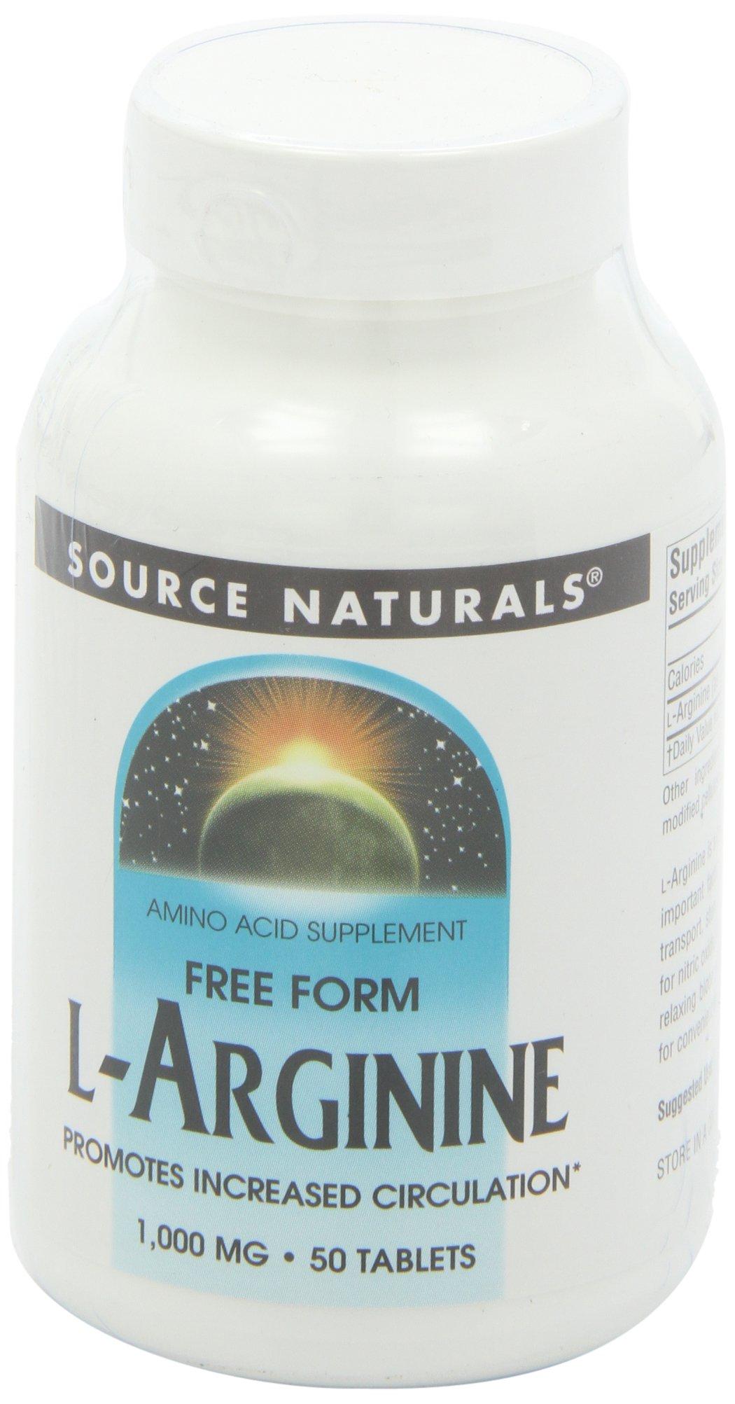 Source Naturals L-Arginine Free-Form 1000 mg, Promotes Increased Circulation, 50 Tablets