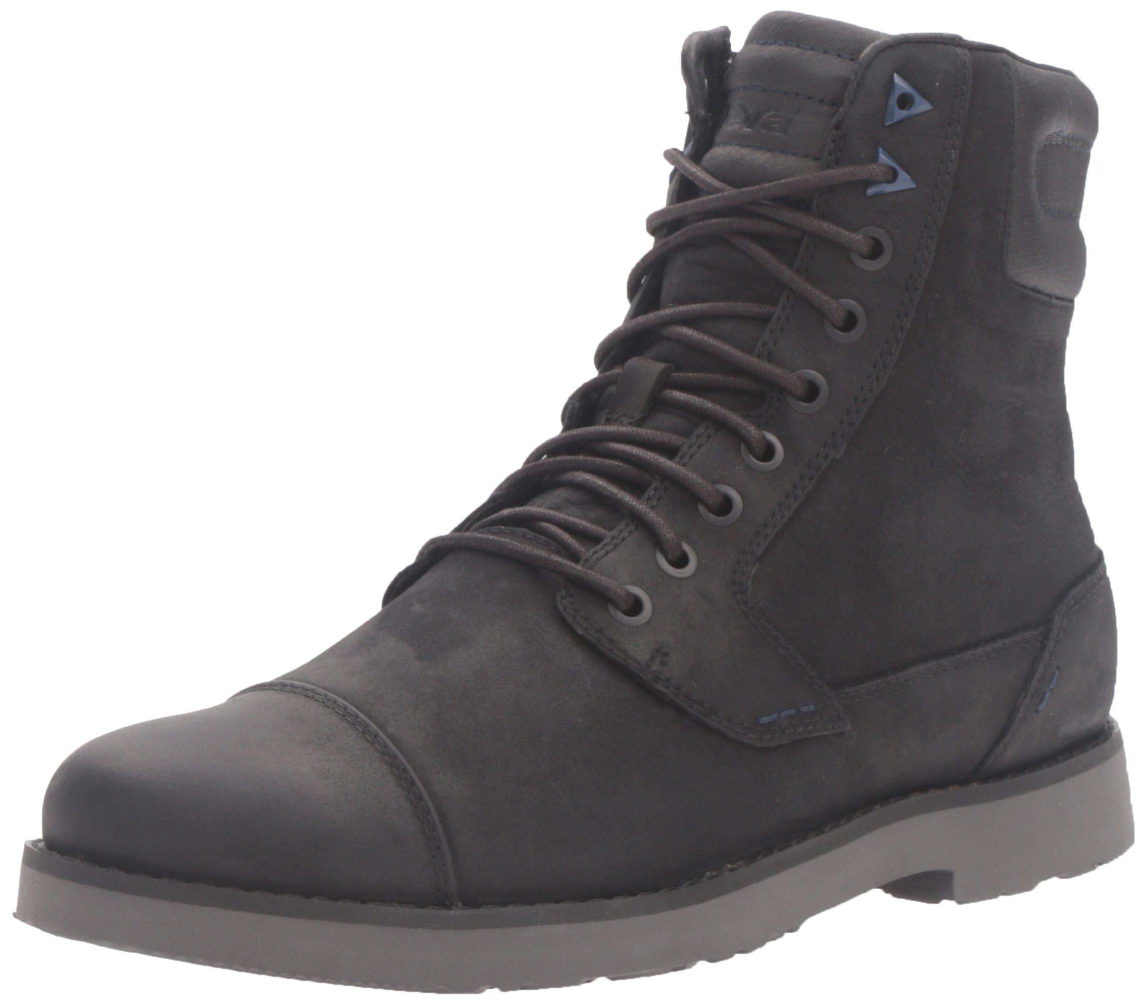 Teva Men's M Durban Tall-Leather Boot, Black/Dark Shadow, 14 M US