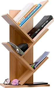 Cubix Engineered Wood 5-Shelf Bookshelf Tree Bookcase Wood Bookshelves Storage Rack Tree Shelf Display Organizer for Books Magazines CDs and Photo Album Holds Up to 5kgs Per Shelf