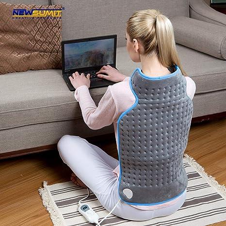 NEWSUMIT Almohadilla Eléctrica Cuello y Espalda - Alivio del dolor - 3 Niveles de Temperatura -