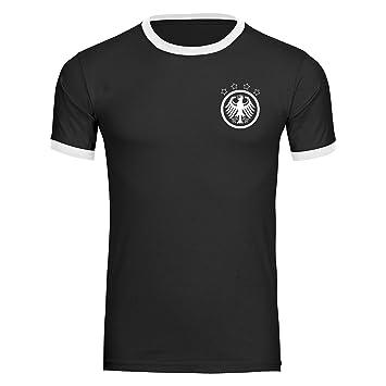 e3494f3b9279 T-Shirt Deutschland Adler Retro Trikot Herren schwarz weiß Gr. S ...