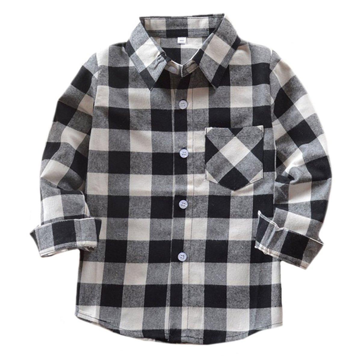 Benibos Boys Girls Flannel Button Down Check Plaid Shirts 4-5T) E004-120