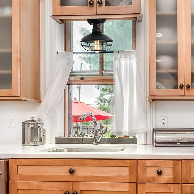 Pendant Light Industrial Metal Jaula Techo luz, E26 rústico Mini Semi Empotrado montado Colgante luminaria Estilo de casa para Pasillo Cocina Garaje Porche baño: Amazon.es: Hogar
