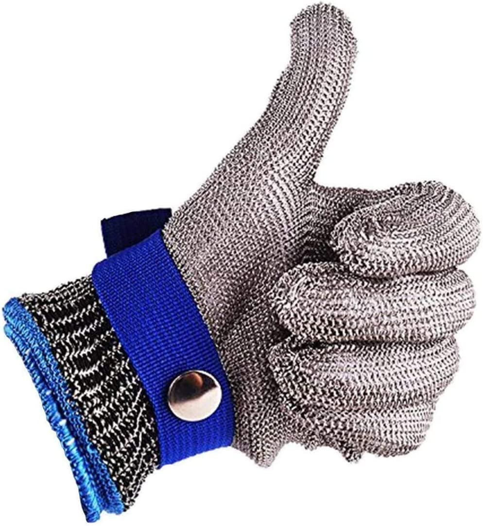 Safety Work Gloves Stab Resistant 316 Stainless Steel Metal Mesh Butcher Glove Size XL Level 5 Protection