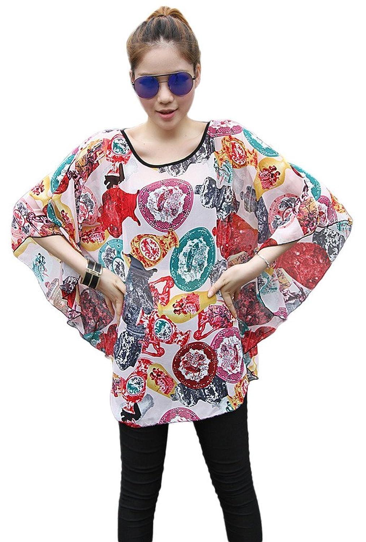 Smile YKK Summer Women Pattern Casual Beach Batwing Drape Shirt Camisa Dolman Top Blouse