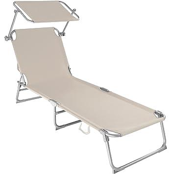 TecTake Chaise Longue Pliante Bain De Soleil Avec Parasol Pare