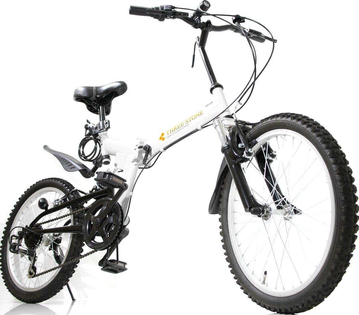 フルサスペンション マウンテンバイク 20インチ 折りたたみ自転車 AJ-01-T MTB シマノ6段外装ギア ダブルサス … B07CNW5JQ1 ホワイト ホワイト