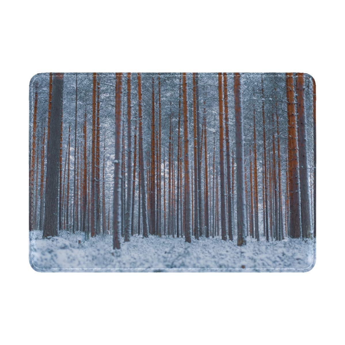 Forest Trees Winter Leather Passport Holder Cover Case Travel One Pocket