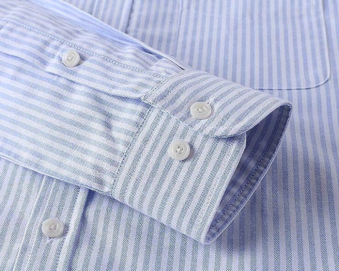 ARTFFEL Mens Casual Long Sleeve Slim Fit Cotton Stripe Button Down Dress Shirt