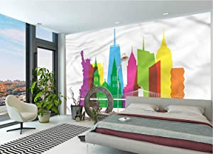 LCGGDB American Wall Stickers Murals,New York Landmarks Paperhanging Wallpaper for Office Livingroom Girls Bedroom Family Wall Decals-118x83 Inch