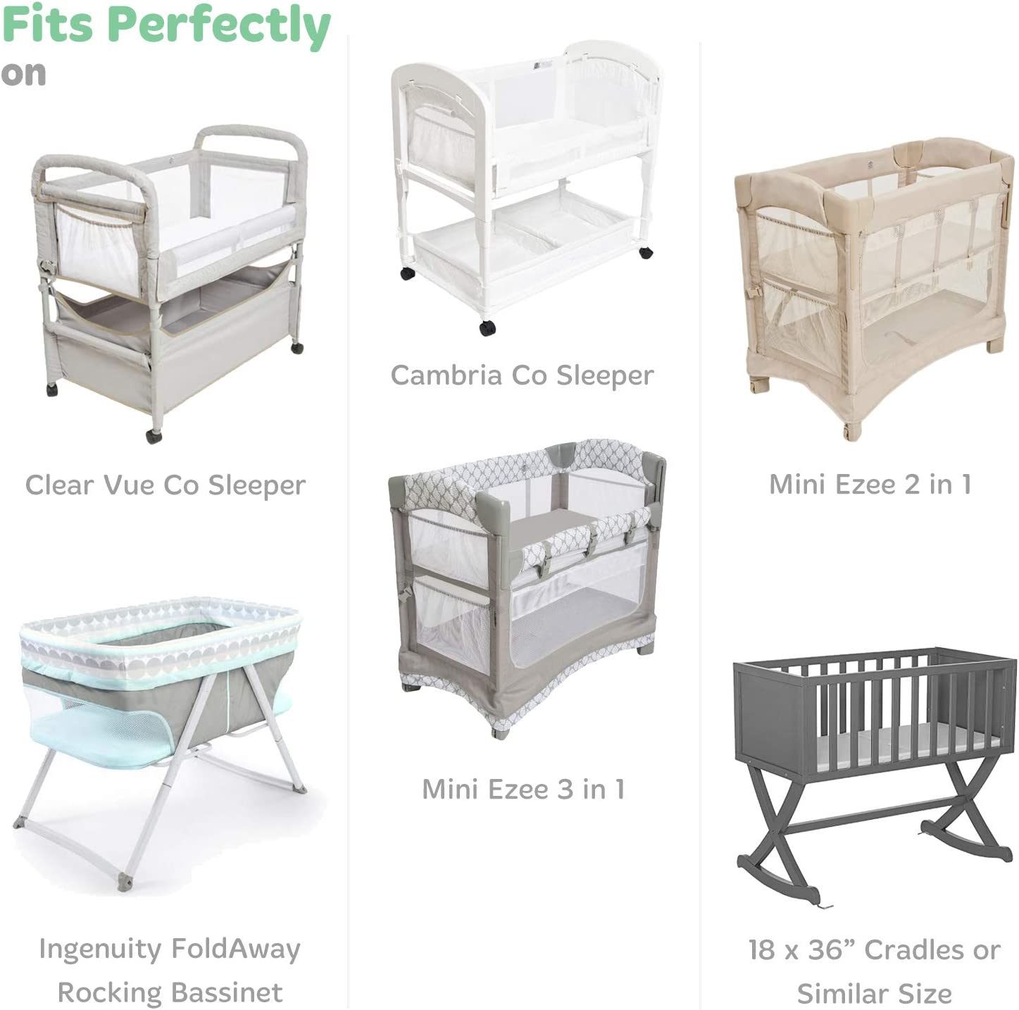 Joey /& Joan Baby Cradle Sheet Fitted 18 x 36 Mini Ezee Bassinet Light Grey Compatible with Arms Reach Co Sleeper Cambria Clear Vue Pure Flannel Cotton